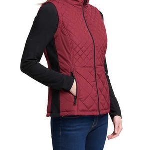 Andrew Marc burgundy quilted vest with pockets